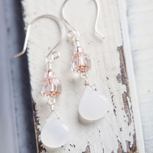 White Jade Teardrop Silver Earrings NEW